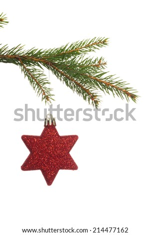 Red christmas decoration hanging from branch on white background