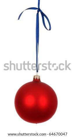 red christmas decoration isolated on white background - stock photo