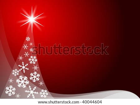 red christmas decoration with christmas tree - stock photo