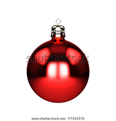 Red christmas decorations baubles isolated on white - stock photo