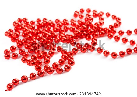 red christmas decorative ornament string with little balls