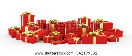 Red christmas gift boxes, presents with golden bows and ribbons isolated 3d rendering - stock photo