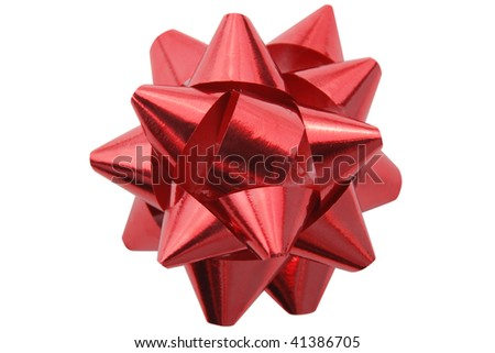 Red christmas gift decoration isolated on white. Clipping path included - stock photo