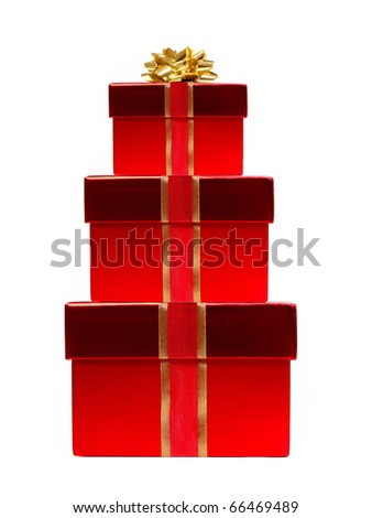 Red Christmas gifts stacked - with ribbon and bow