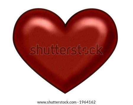 Red Christmas heart with glowing highlights on white background and no shadow