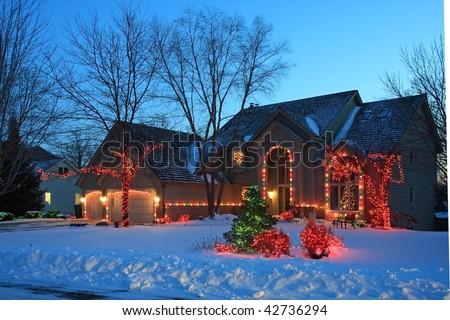 Red christmas lights in Minnesota - stock photo