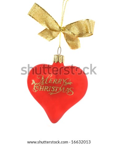Red Christmas love heart decoration with gold glitter lettering. - stock photo
