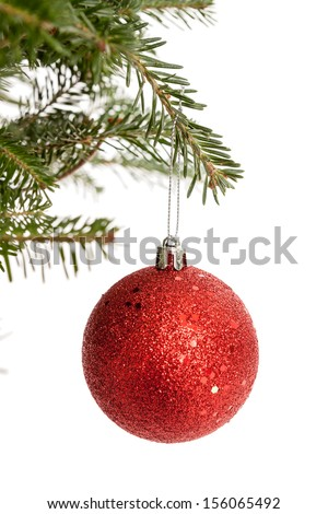 Red Christmas ornament dangling from a real Christmas tree branch isolated on white - stock photo