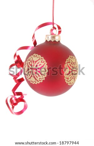 Red Christmas ornament with red ribbon isolated on white
