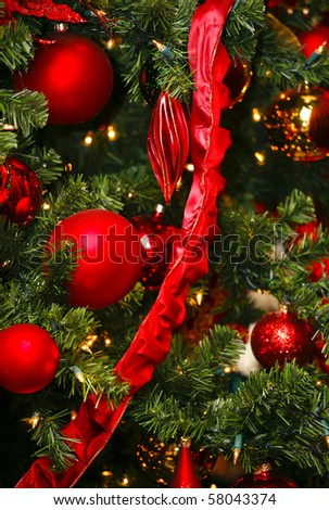 Red Christmas Ornaments - stock photo