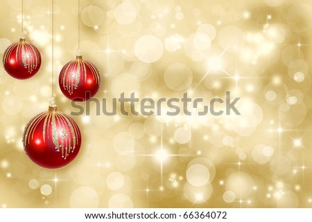 Red Christmas ornaments on a gold background de-focused - stock photo
