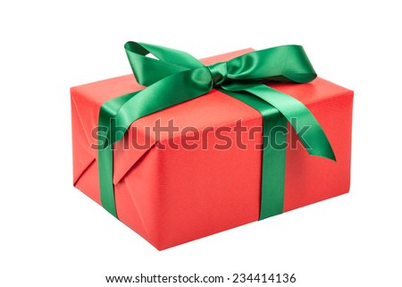 red christmas present isolated - stock photo