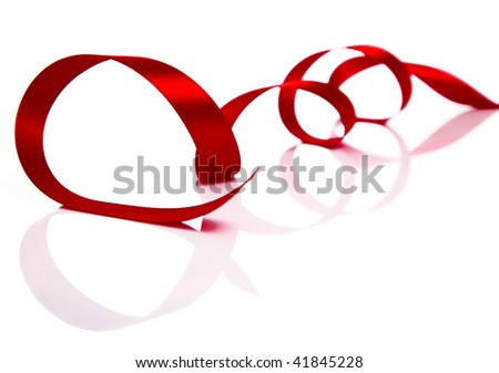 Red Christmas ribbon isolated on white background - stock photo