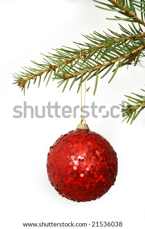 Red Christmas sparkling globe in Christmas tree on white background - stock photo