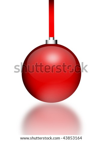Red christmas sphere over white background with reflection - stock photo