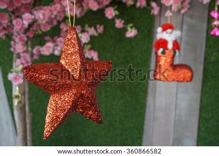 Red christmas star - stock photo