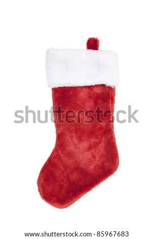 Red Christmas Stocking, isolated w/clipping path - stock photo