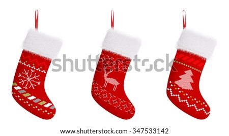 Red christmas stockings with patterns isolated over white 3d rendering - stock photo