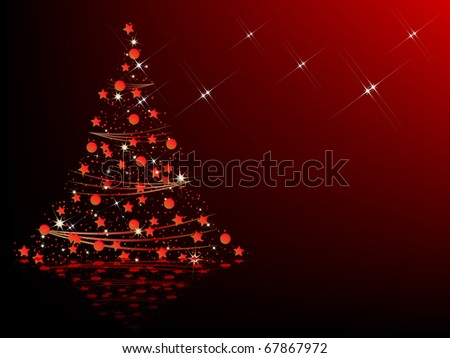 Red Christmas tree - stock photo
