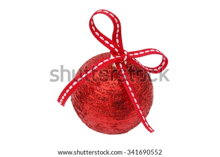 Red Christmas-tree ball with a red bow - stock photo