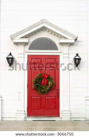red church door - stock photo