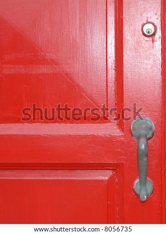 red church door - stock photo