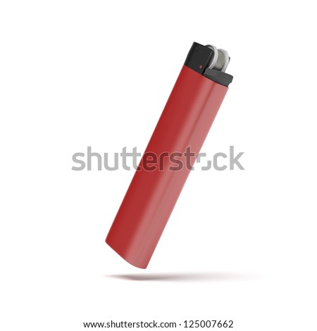 Red cigarette lighter isolated on a white background - stock photo