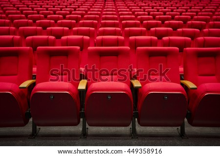 Red cinema or theater seats