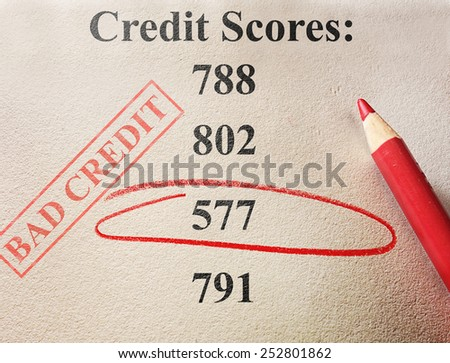 Red circle and bad credit score stamp                              - stock photo