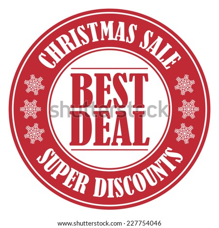 Red Circle Best Deal Christmas Sale Icon, Label or Sticker Isolated on White Background  - stock photo