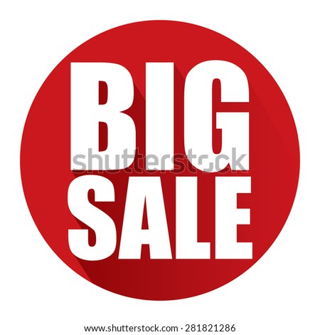 Red Circle Big Sale Long Shadow Style Icon, Label, Sticker, Sign or Banner Isolated on White Background