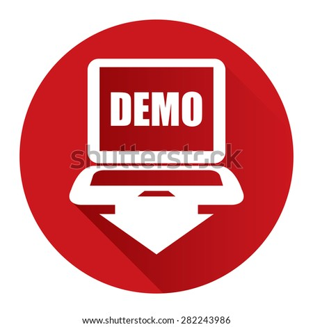 Red Circle Computer Laptop With Demo Text on Screen Monitor Flat Long Shadow Style Icon, Label, Sticker, Sign or Banner Isolated on White Background - stock photo