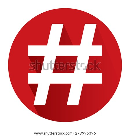 Red Circle Hashtag, Tag Long Shadow Style Icon, Label, Sticker, Sign or Banner Isolated on White Background - stock photo