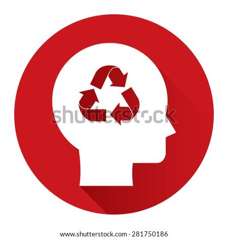Red Circle Head With Recycle Arrow Flat Long Shadow Style Icon, Label, Sticker, Sign or Banner Isolated on White Background - stock photo