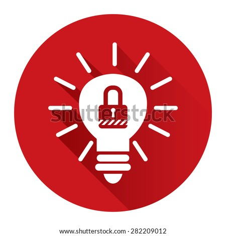 Red Circle Light Bulb With Key Lock Sign Flat Long Shadow Style Icon, Label, Sticker, Sign or Banner Isolated on White Background - stock photo