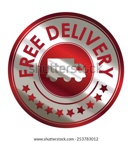 red circle metallic free delivery sticker, banner, sign, icon, label isolated on white - stock photo