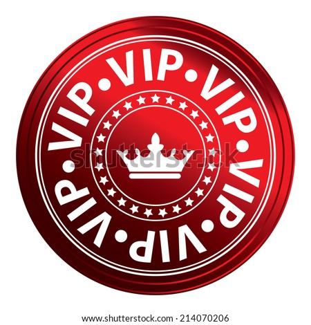 Red Circle Metallic Style VIP Icon, Label or Sticker Isolated on White Background  - stock photo