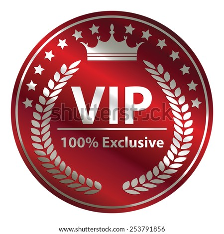 red circle metallic vip 100% exclusive badge, sticker, banner, sign, icon, label isolated on white - stock photo