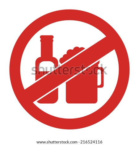 Red Circle No Alcohol Prohibited Sign, Icon or Label Isolate on White Background  - stock photo