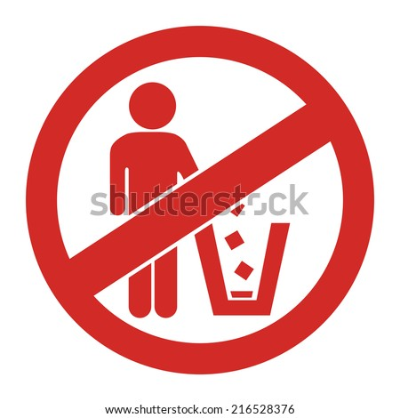 Red Circle No Littering Prohibited Sign, Icon or Label Isolate on White Background  - stock photo