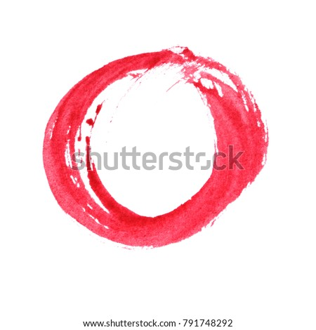 red circle watercolor painting ,hand painted brush strokes , isolated on white background