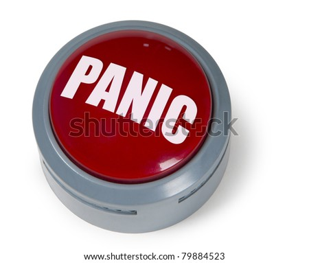 Red circular panic button isolated against a white background - stock photo