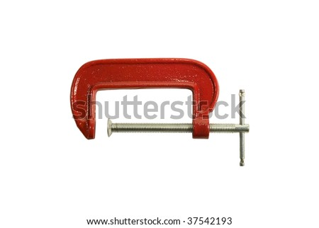 Red clamp on a white background. It is isolated
