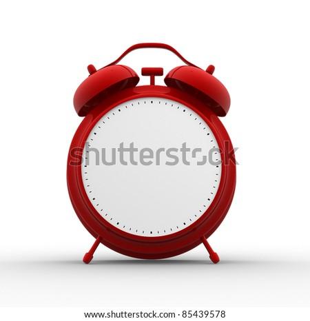 Red classic alarm clock. 3d render illustration - stock photo