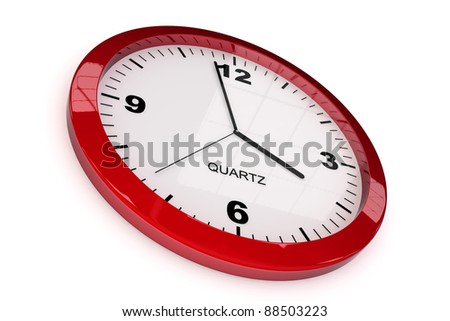 red classic office clock on white background