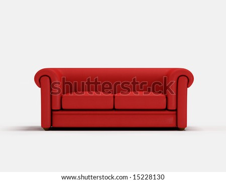 Red classic sofa on white background -digital artwork - stock photo