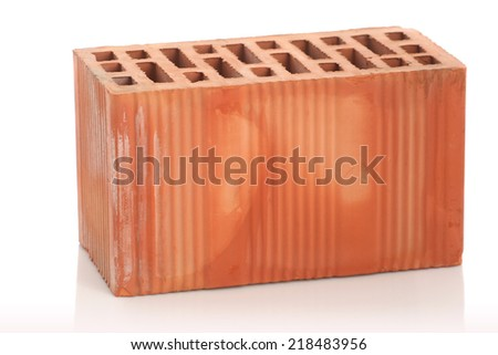 red clay bricks on white background isolate