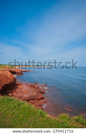 Red cliff of Prince Edward Island - stock photo