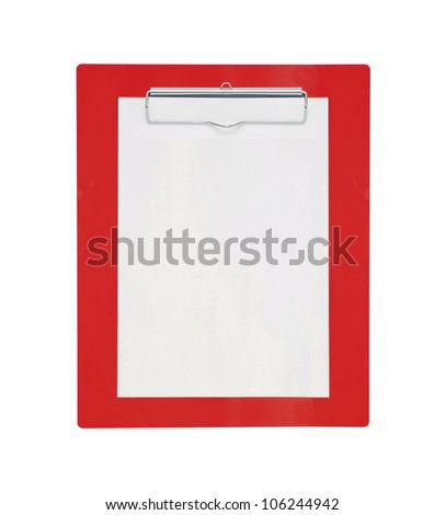 Red clipboard with blank paper isolated on white background - stock photo