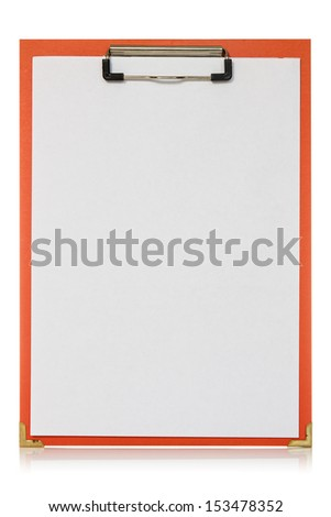 Red clipboard with blank paper sheet on the white background